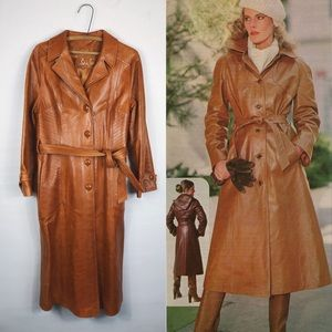 Vintage • Leather Butterscotch Trench Style Coat